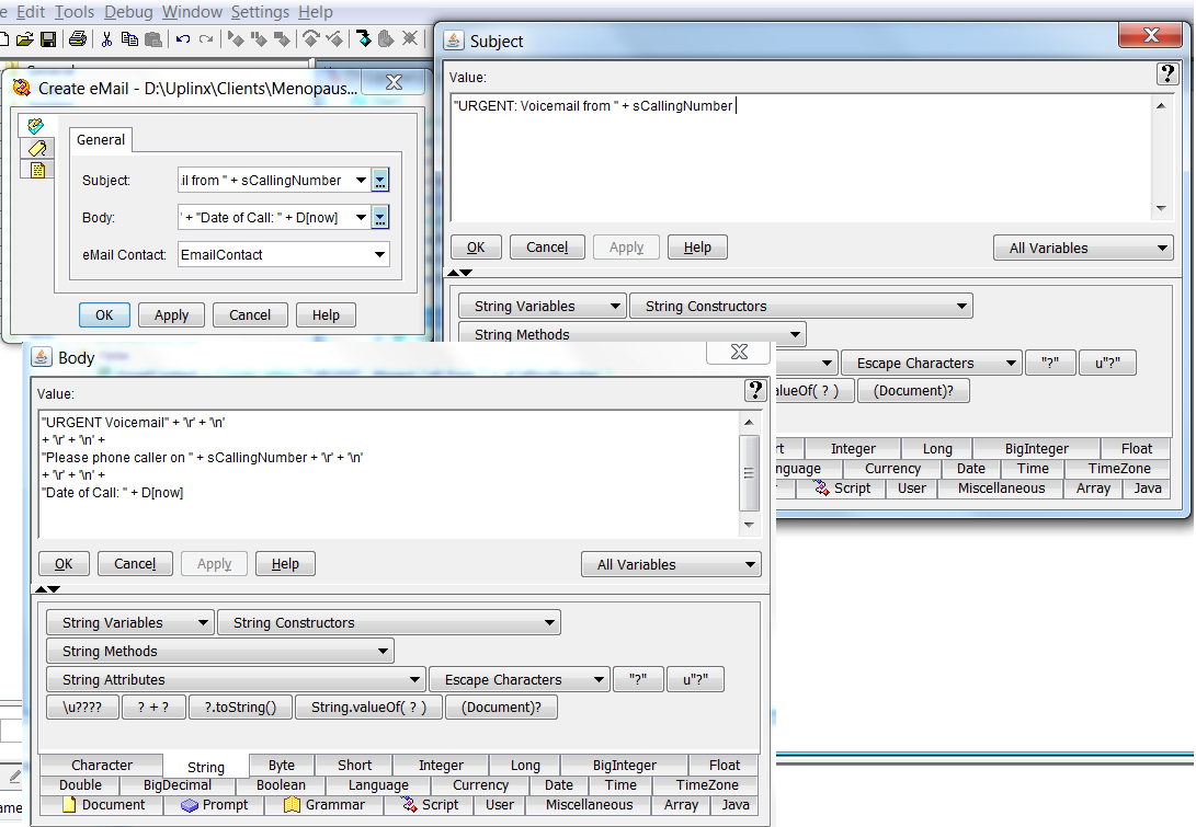 UCCX Expressions Editor