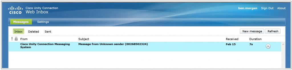 Cisco Unity Connection Web Inbox